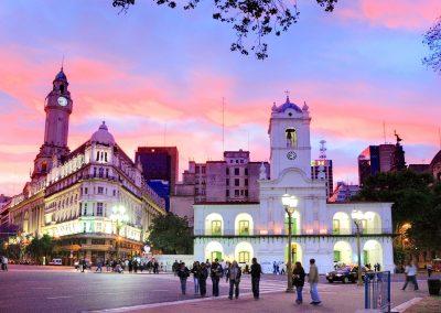 "National Cabildo Facade at ""Plaza de Mayo"" (May Square) at twilight, Buenos Aires, Argentina"
